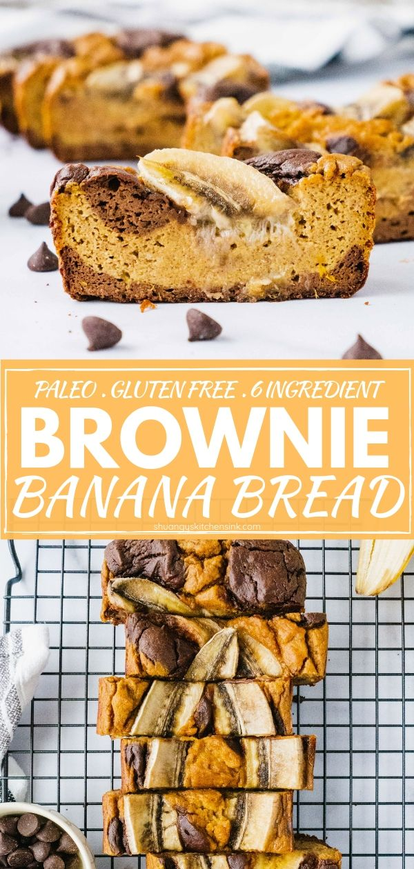 Paleo and gluten free brownie banana bread pinterest image