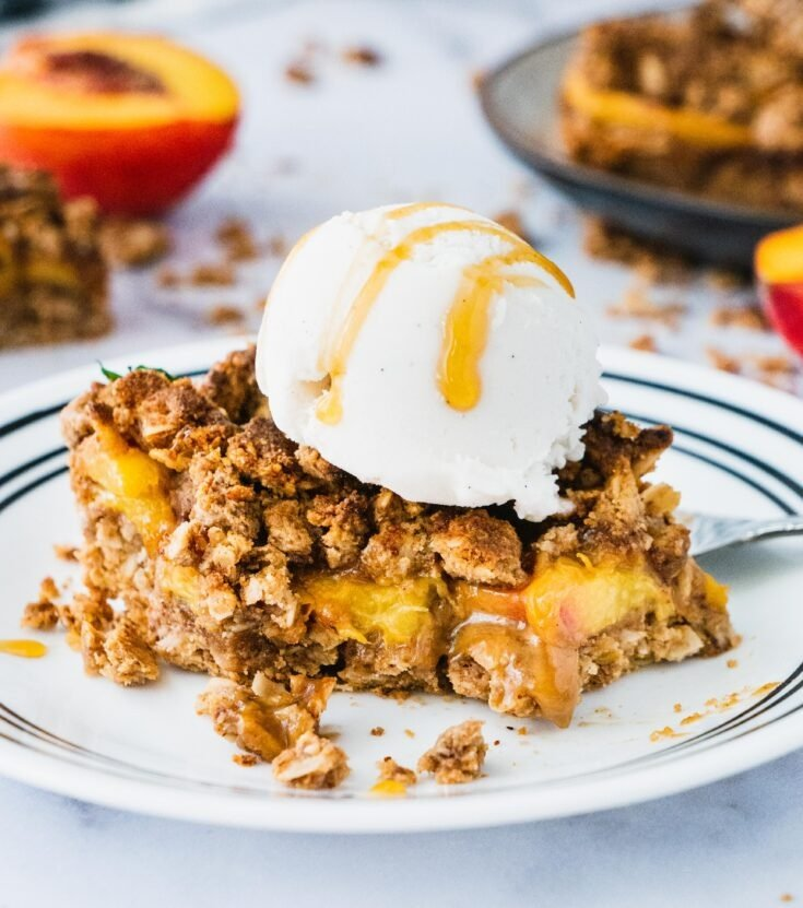 Peach Crisp Crumble Bars (Vegan, Gluten Free)