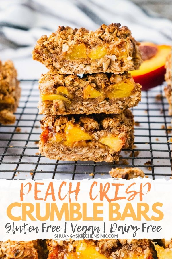 Peach Crisp Crumble Bars| Looking for the perfect summer peach dessert? The buttery crumbly crust and perfect crisp layered with sweet juicy fresh summer peaches fillings, these Peach Crisp Crumble Bars are the perfect sweet dessert for this summer. It is also gluten free, vegan and refined sugar free. |#crumblebars #peachdessert #glutenfreedessert #healthydessert #easydessert #healthyrecipes #vegandessert#veganrecipes