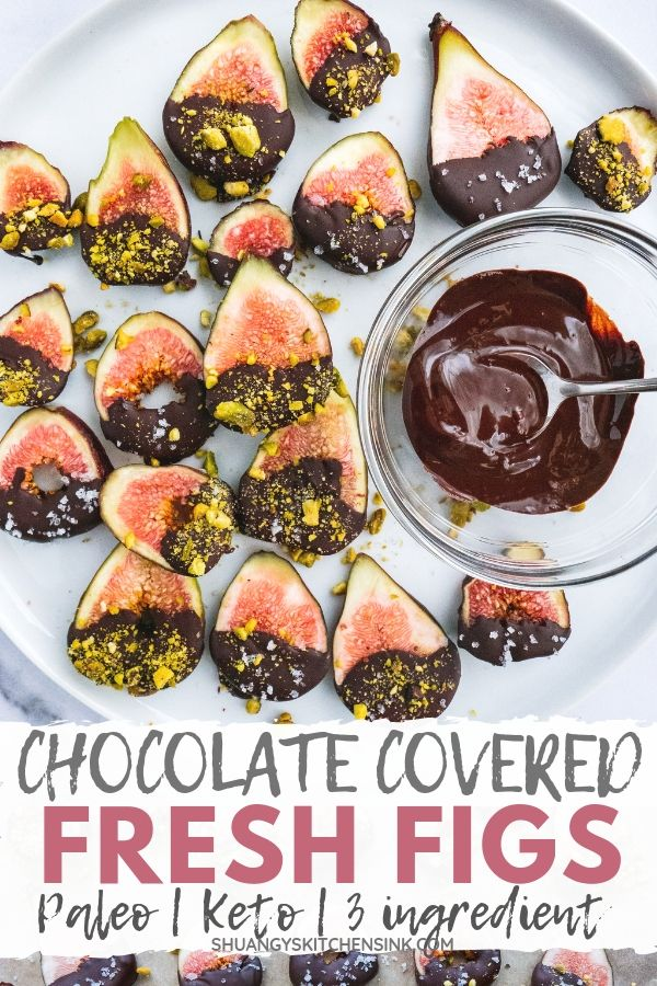 Dark Chocolate Covered Figs | Looking for an easy and healthy fresh fig recipe? These dark chocolate covered figs with pistachios and sea salt are my favorite fig dessert and snack. They are gluten free, paleo, and keto compliant. My favorite summer dessert. Can't beat this fig chocolate combination! | #figs #summerdessert #paleodessert #chocolate #chocolatecovered #ketodessert