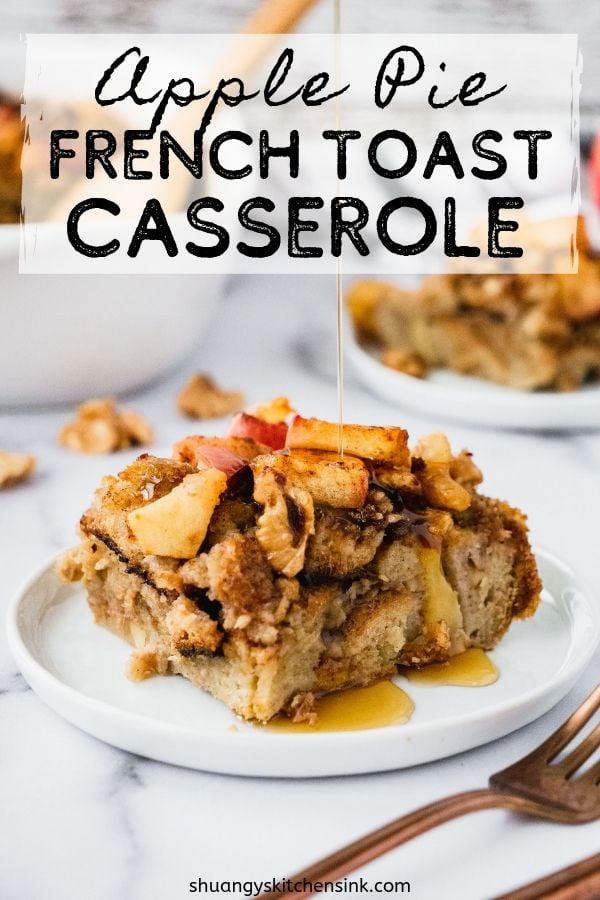 apple pie french toast casserole (overnight bake) pinterest image