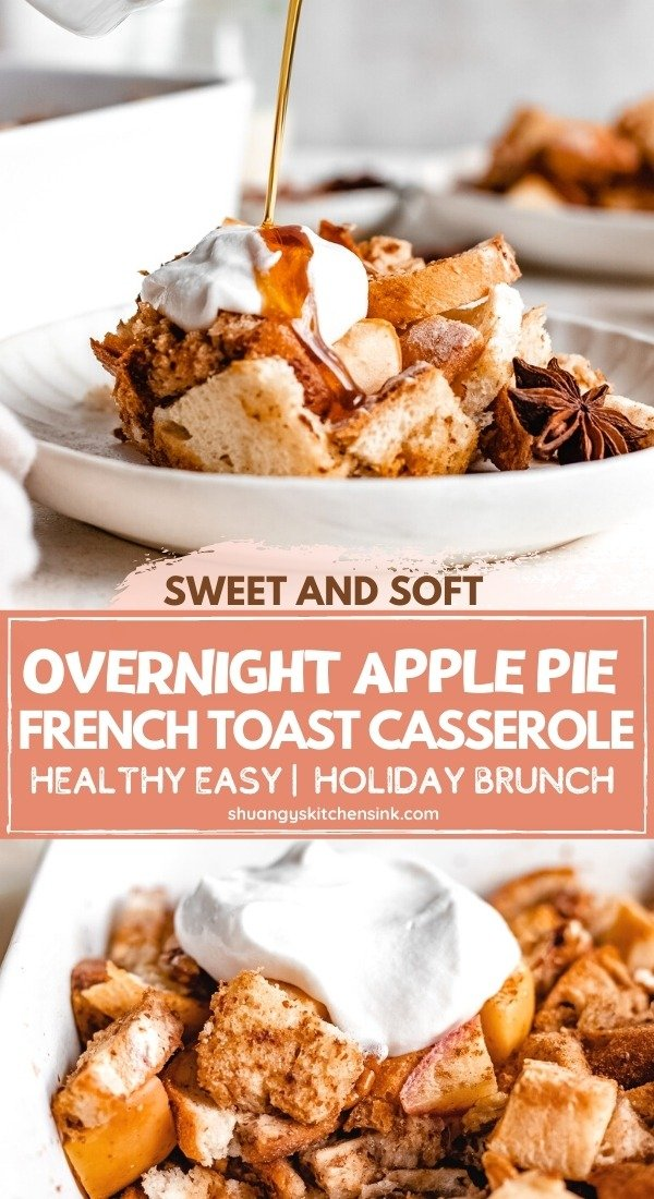 A plate of apple french toast casserole topped with coconut cream, maple syrup, cinnamon apples and pecans.