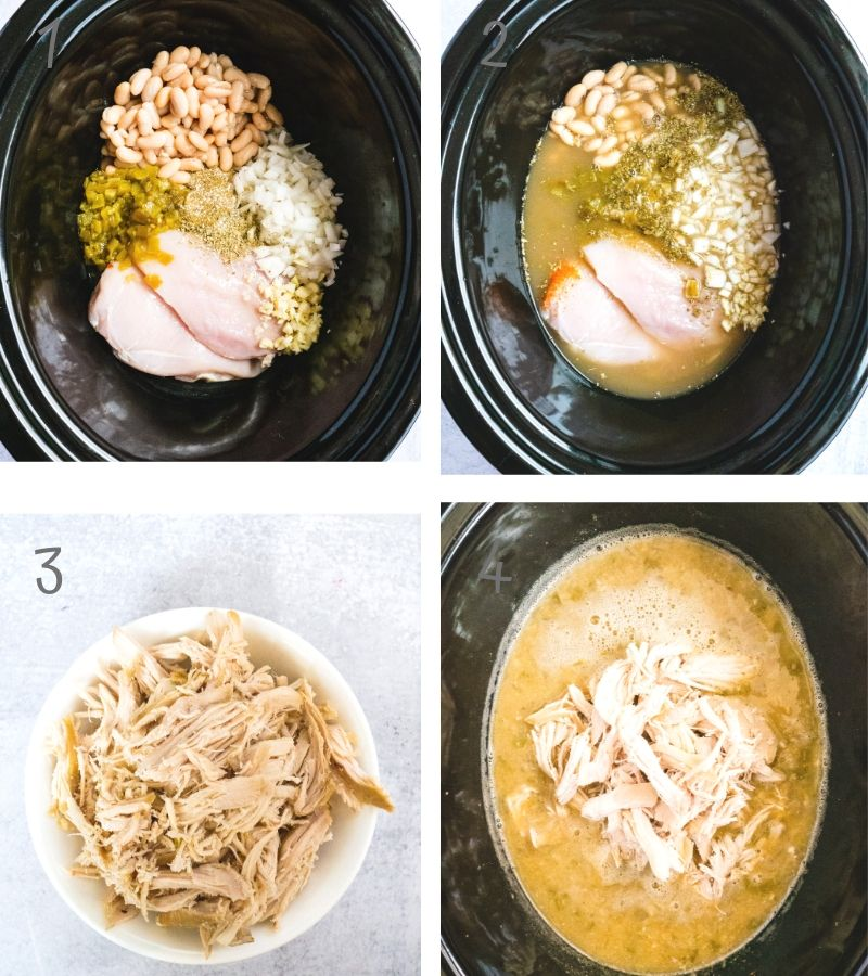 step by step instruction on how to make white bean chicken chili in a crockpot