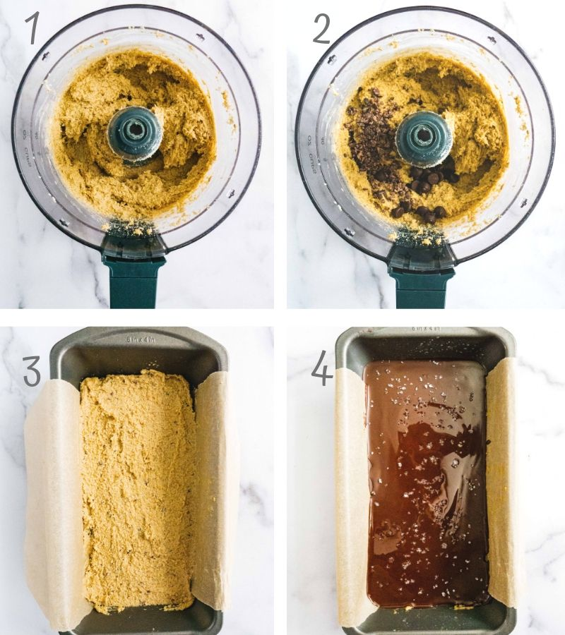 a food processor with a batch of raw energy bites