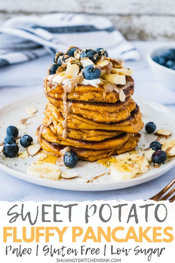 paleo sweet potato pancakes pinterest image