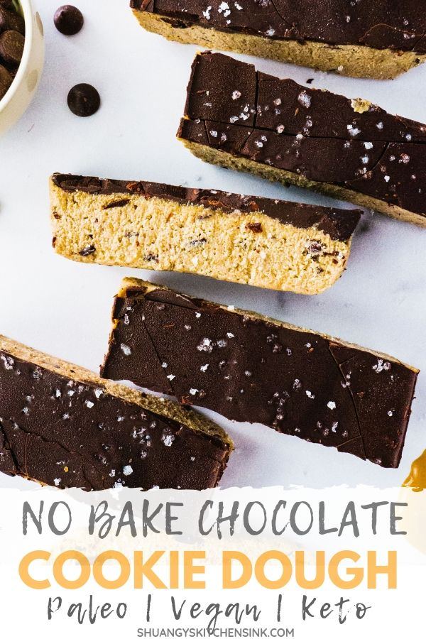No Bake Chocolate Chip Cookie Dough Bars pinterest image