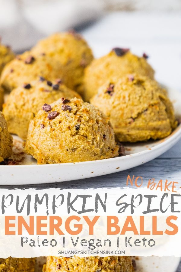 Pinterest image for no bake pumpkin spice energy balls