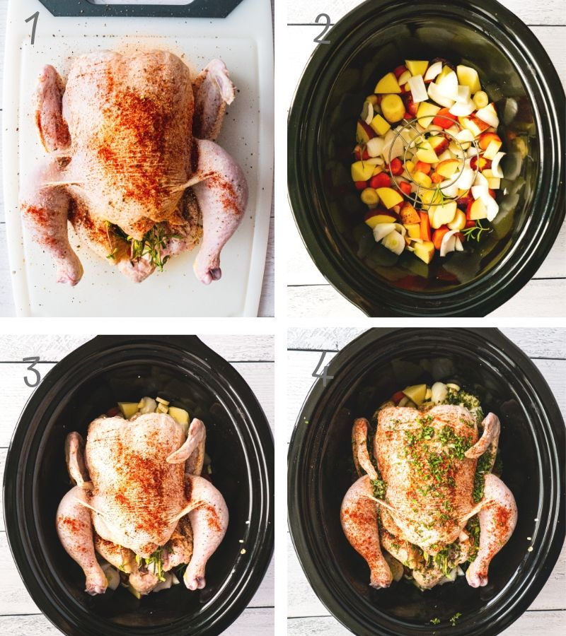 Step by Step instruction for this slow cooker whole chicken recipe