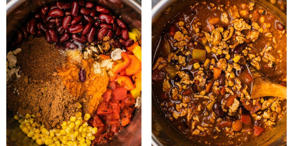 An instant pot with pumpkin puree, corn, beans, peppers, ground turkey, tomatoes, and spices.