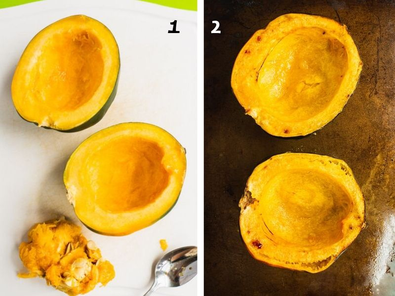 step by step instruction on how to prepare, cut and bake acorn squash