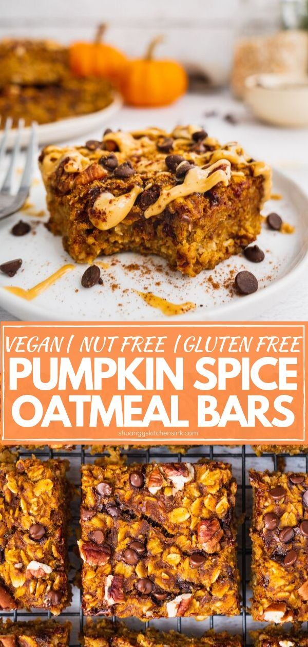 A piece of pumpkin oatmeal breakfast bars topped with peanut butter, chocolate chip and cinnamon with a bite. In the background there are more bars and pumpkins and a jar of gluten free oats. Pinterest Image