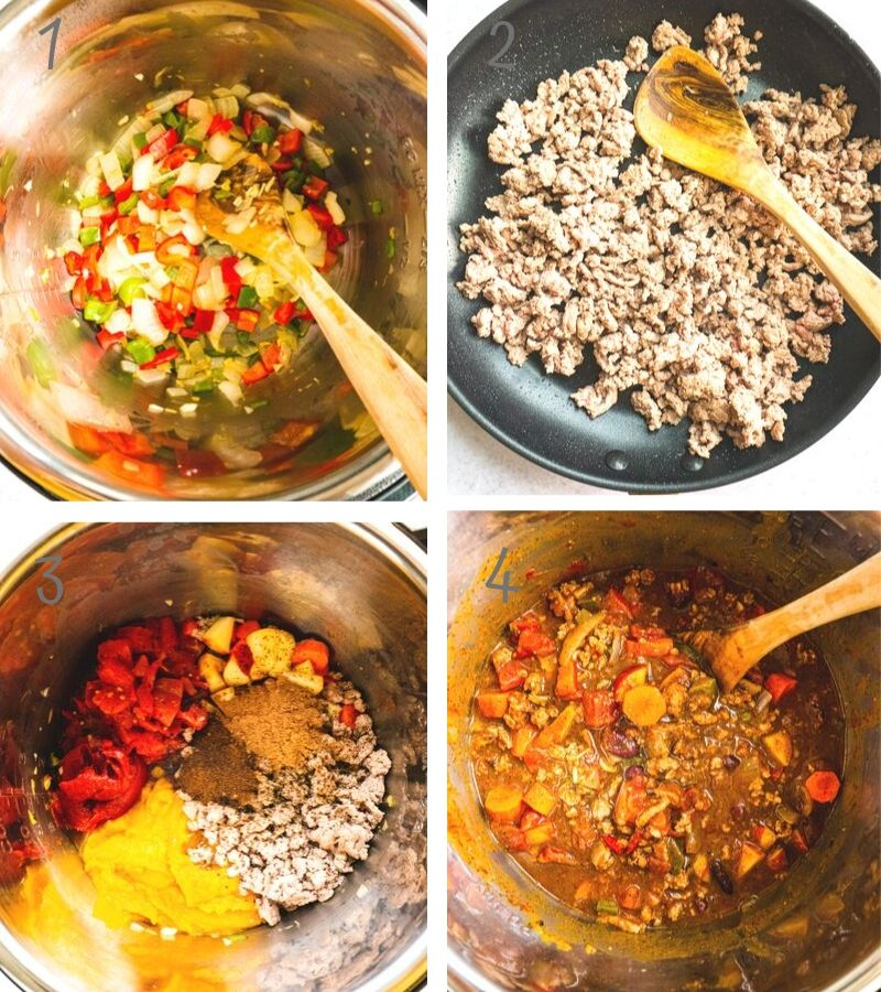 Step by Step Instruction on how to make this healthy pumpkin turkey chili