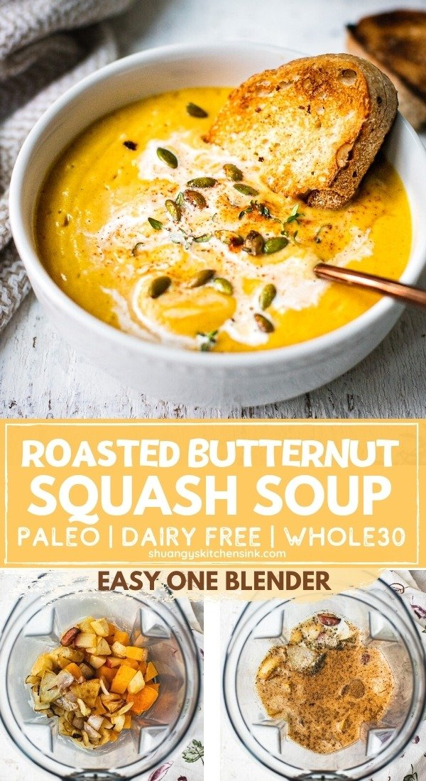 A bowl of healthy butternut squash soup topped with dairy free coconut milk, rusty sourdough, roasted pumpkin seeds. This easy butternut squash bisque recipe can be made all in one blender.