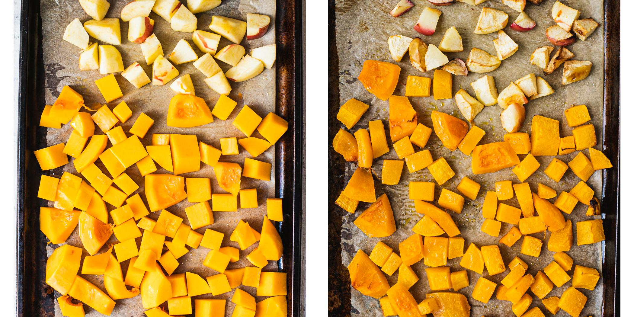before and after picture of roasting butternut squash and apples in the oven.