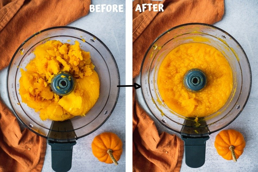 step by step instructions on how to puree pumpkin once it is baked