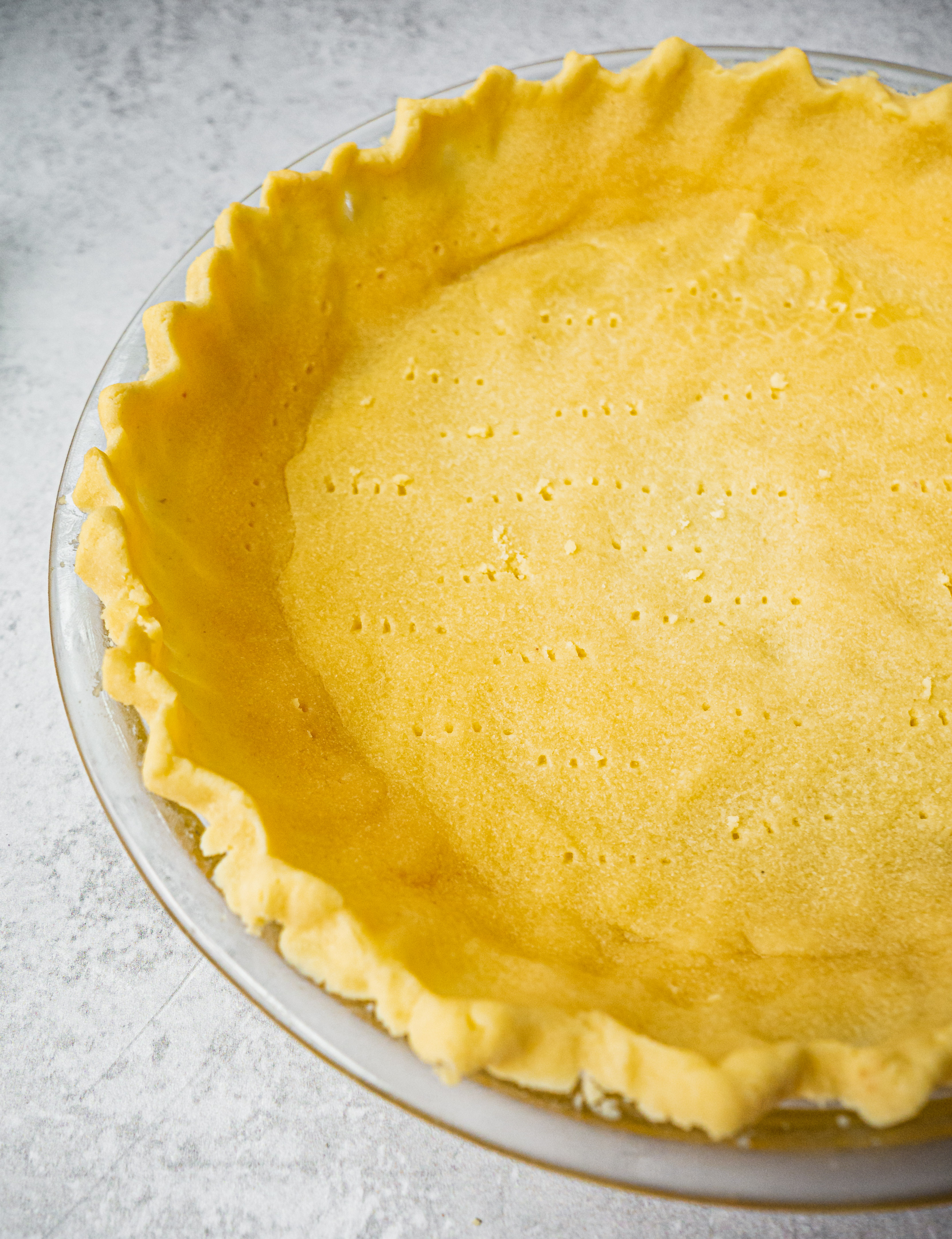 Cooked flaky and buttery paleo gluten free pie crust.