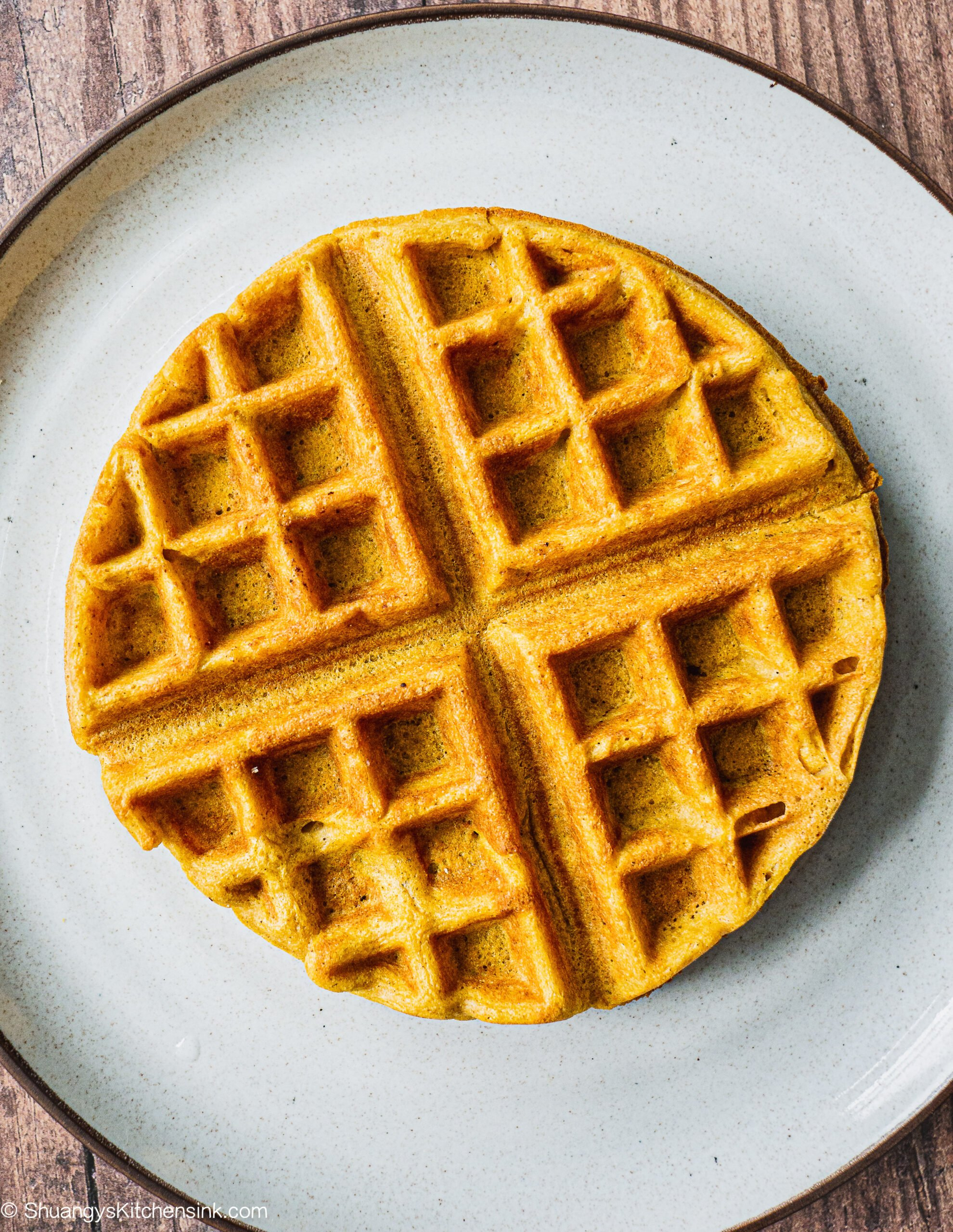 A plain pumpkin waffle on a plate. it looks crispy and golden.