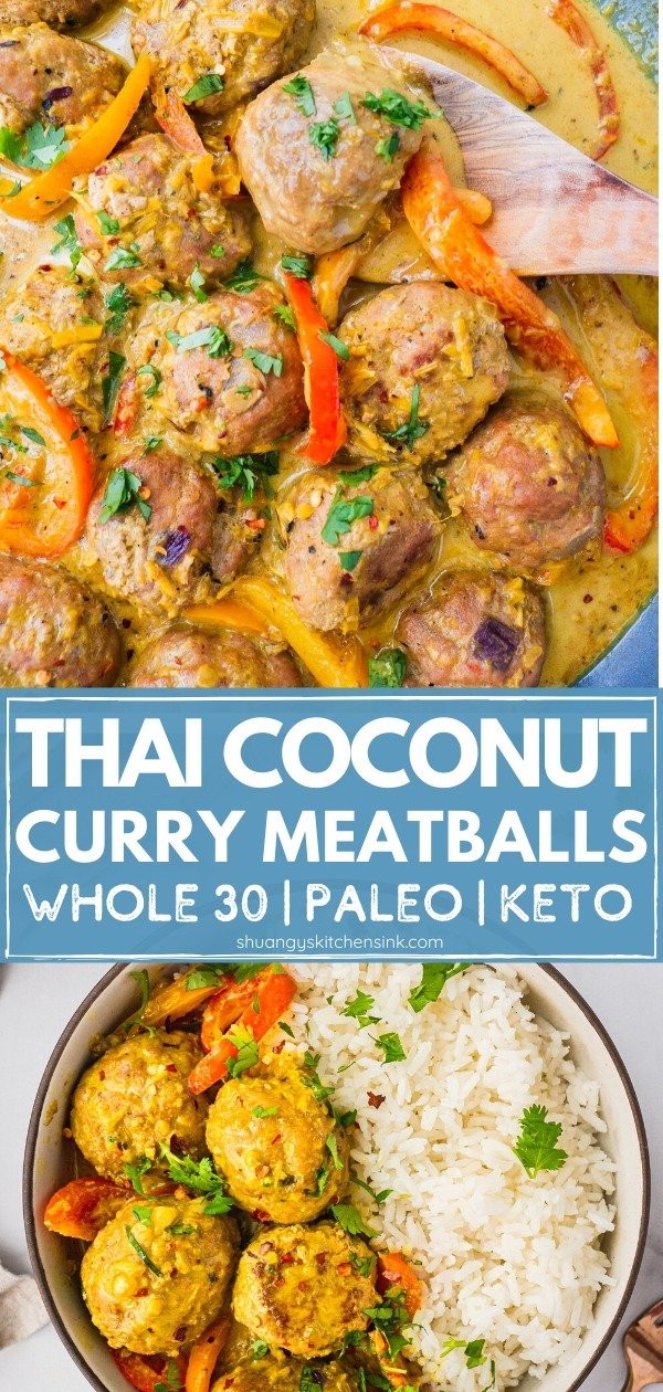 In a blue sauce pan, there are the cooked yellow thai coconut curry meatballs with fresh cilantro on top. There is a wooden spoon in the coconut curry soup as well. pinterest image