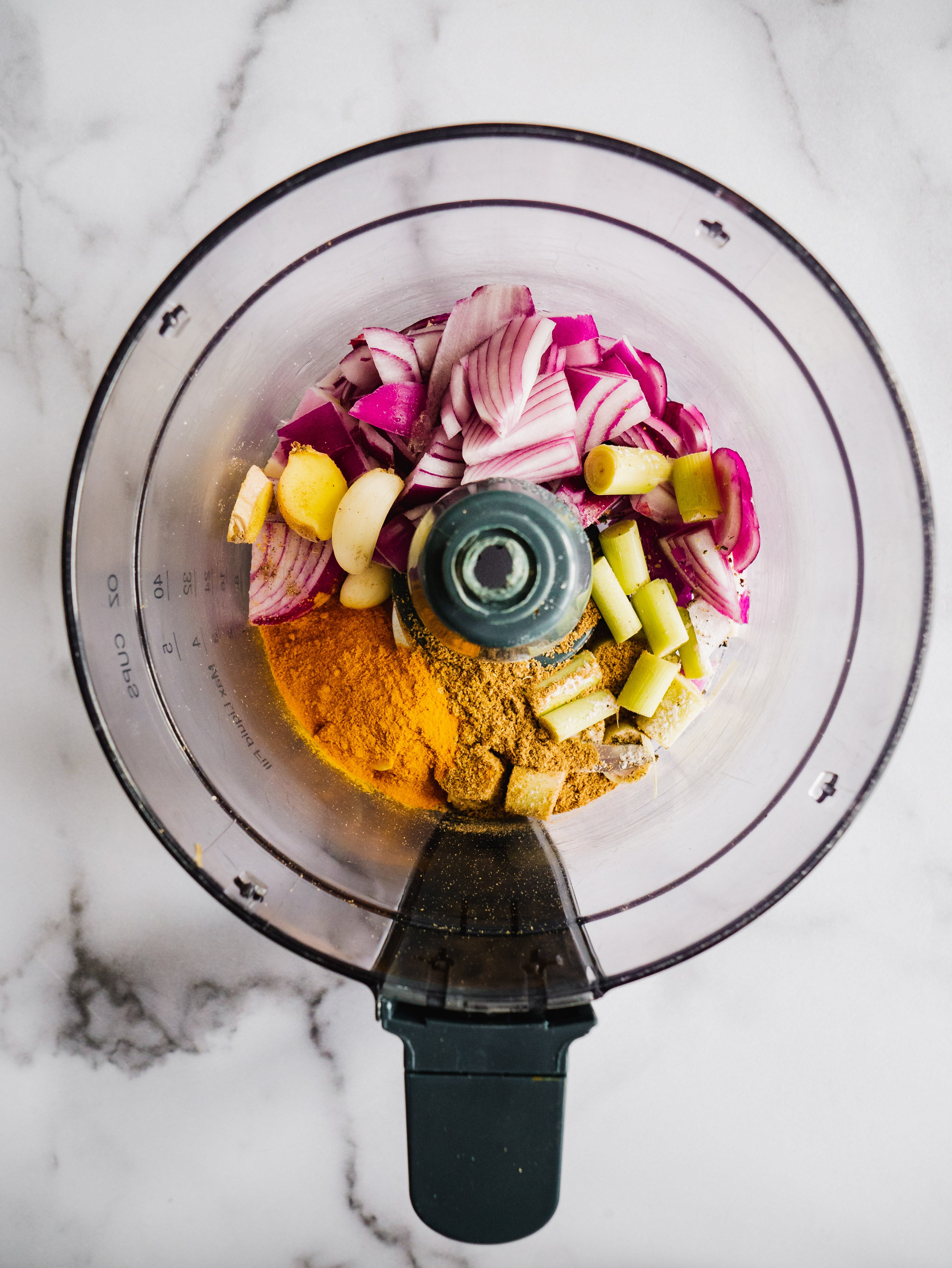 There is a food processor with all the ingredients for thai curry paste in it.