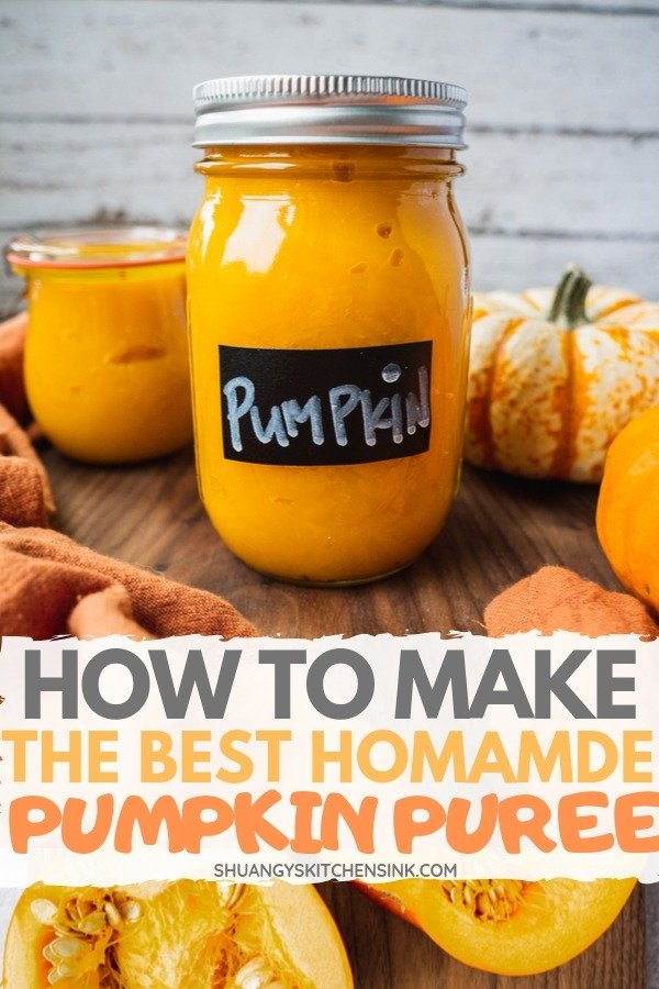 a jar of fresh pumpkin puree homemade from scrach. There is a pumpkin in the background. pinterest image