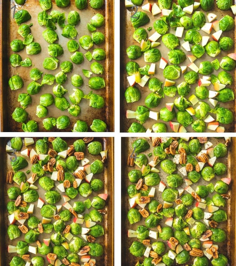 Step by Step Instruction on how to make crispy brussel sprouts and roasted apple spiced pecans.