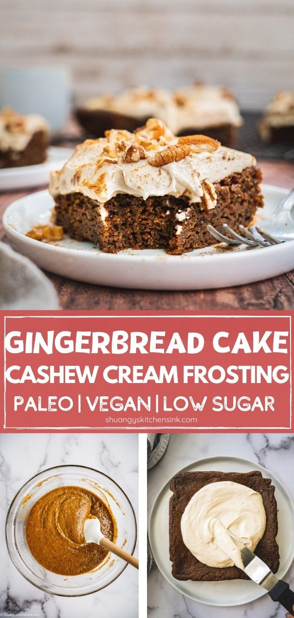 Paleo Gluten Free Vegan Gingerbread Cake | This vegan gingerbread cake with cashew cream frosting is easy to make and makes the perfect healthy Christmas dessert for the family this holiday season. It is paleo, gluten free and low sugar as well. |#gingerbread #christmas dessert #paleorecipe #vegandessert #veganrecipe #vegancake #healthychristmas