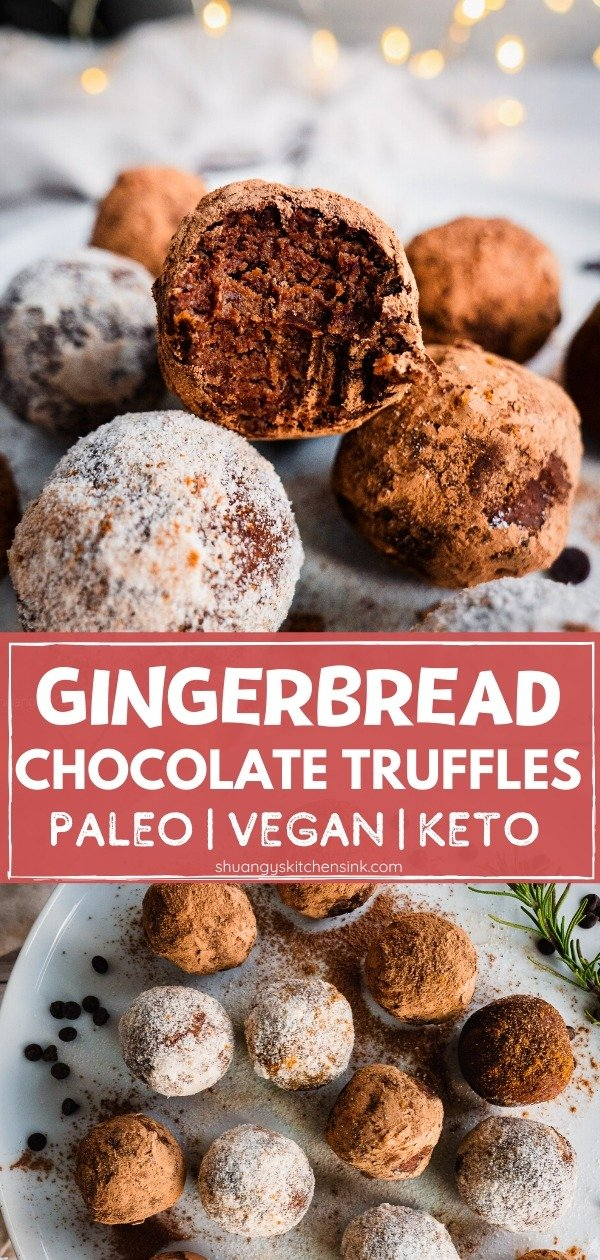 These Vegan, Paleo and Keto Gingerbread Chocolate truffle are made with Simple ingredients, No bake required. There is a bite on the top truffle. There are christmas lights in the background.