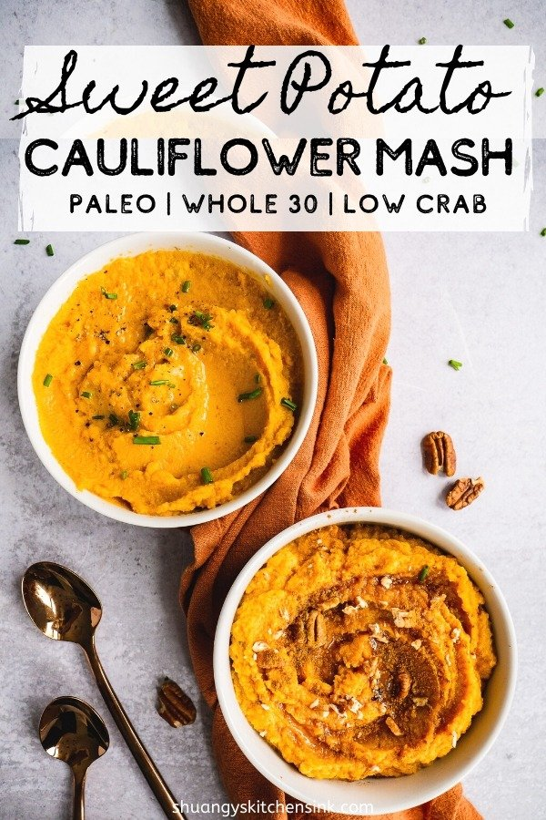 Two bowls of Sweet Potato Cauliflower Mash. One is maple pecan cinnamon sweet flavor, the other one is olive oil chive savory flavor. There are two spoons and an orange towel in the background as well. Pinterest Image.