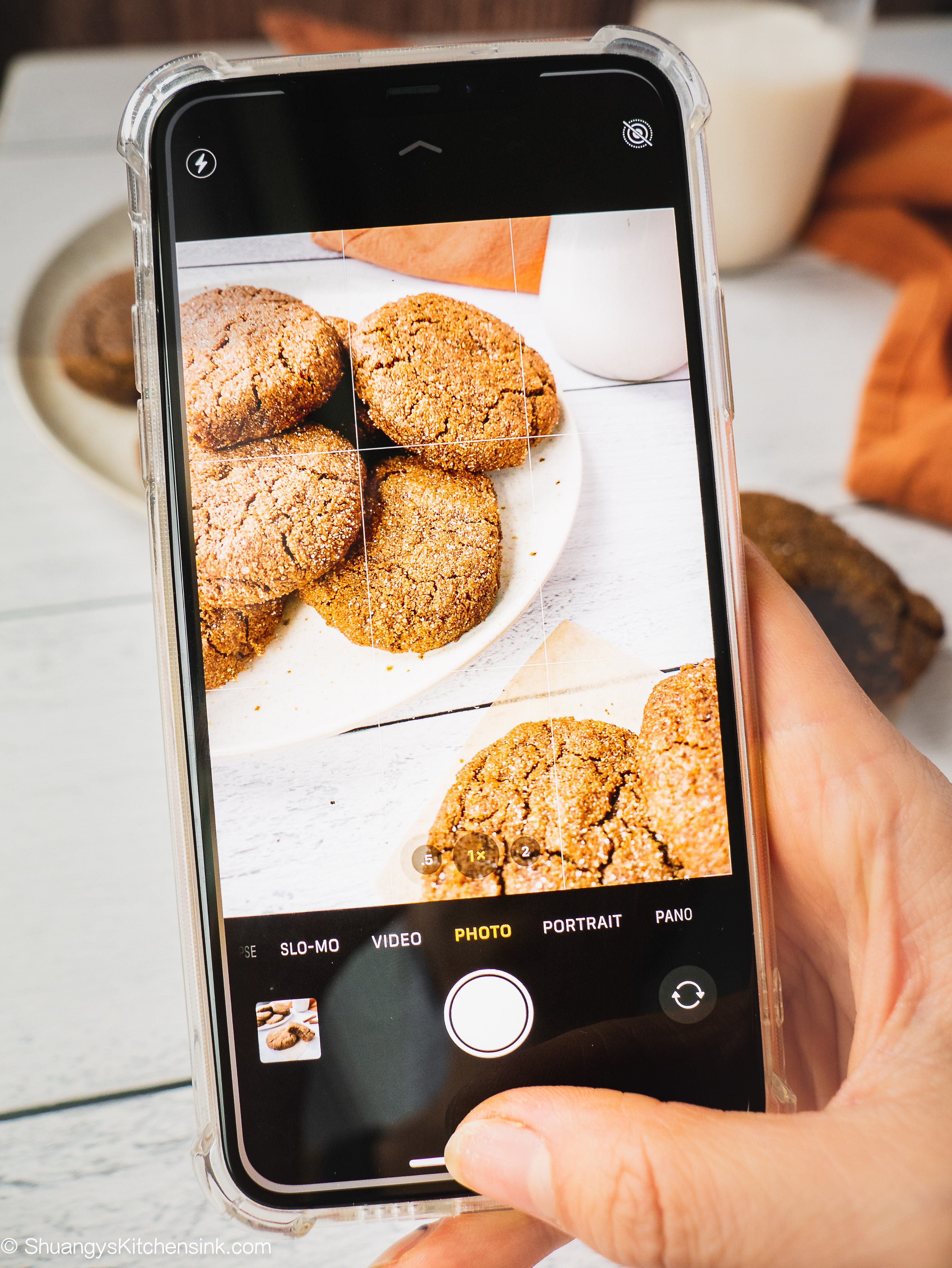 An iphone is taking a photo of the plate of healthy chewy and soft ginegrbread cookies.