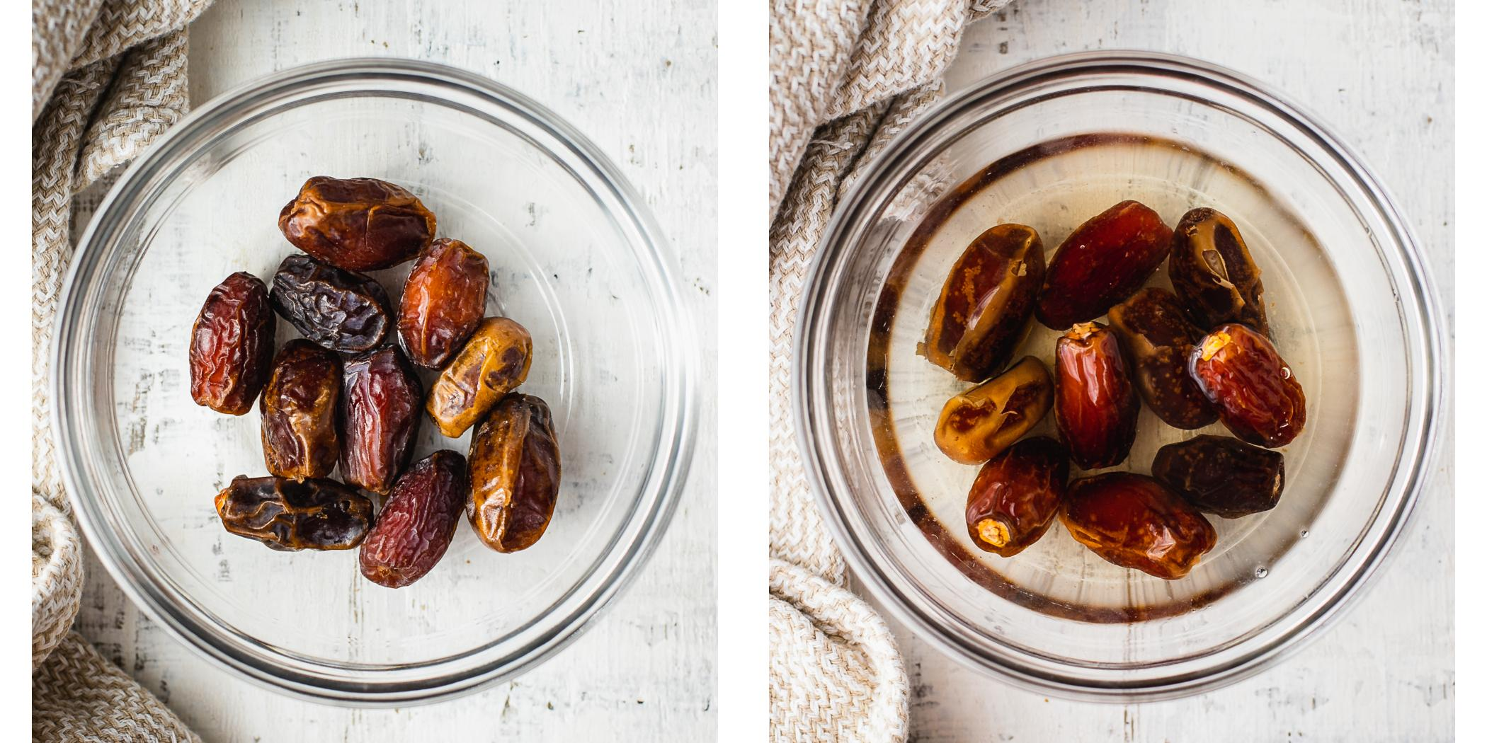 Instruction on how to make caramel pecan pie with medjool dates.