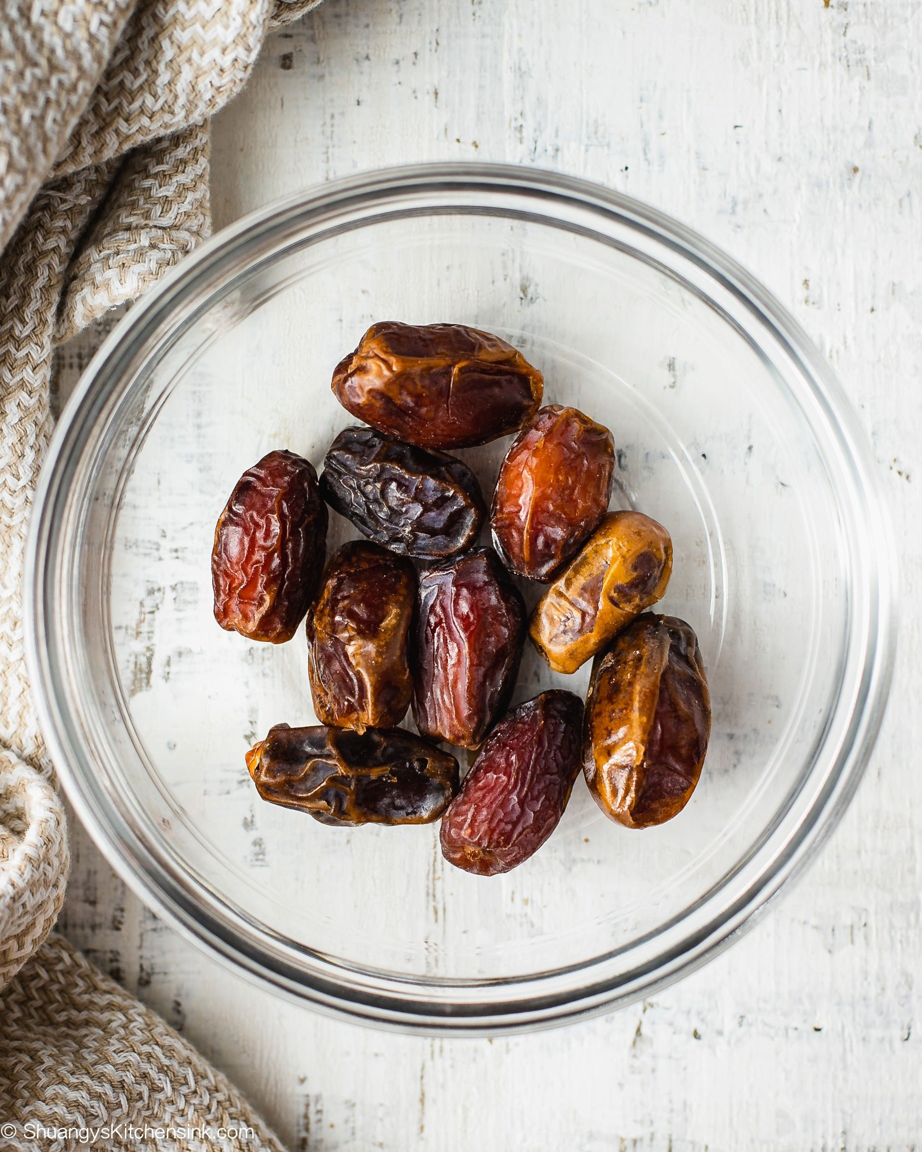 A bowl of Medjool dates that is refined sugar free sweetener.