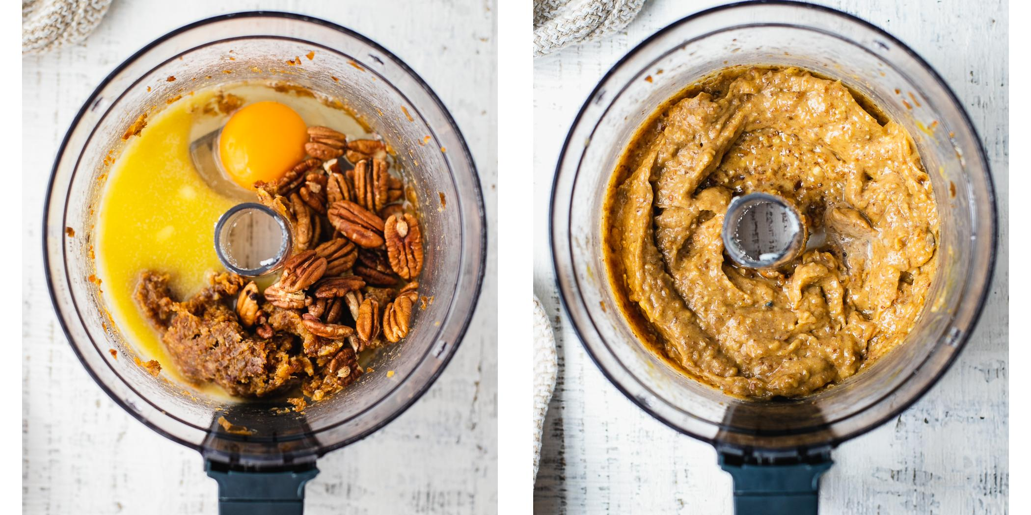Instruction on how to make caramel pecan pie in a blender.