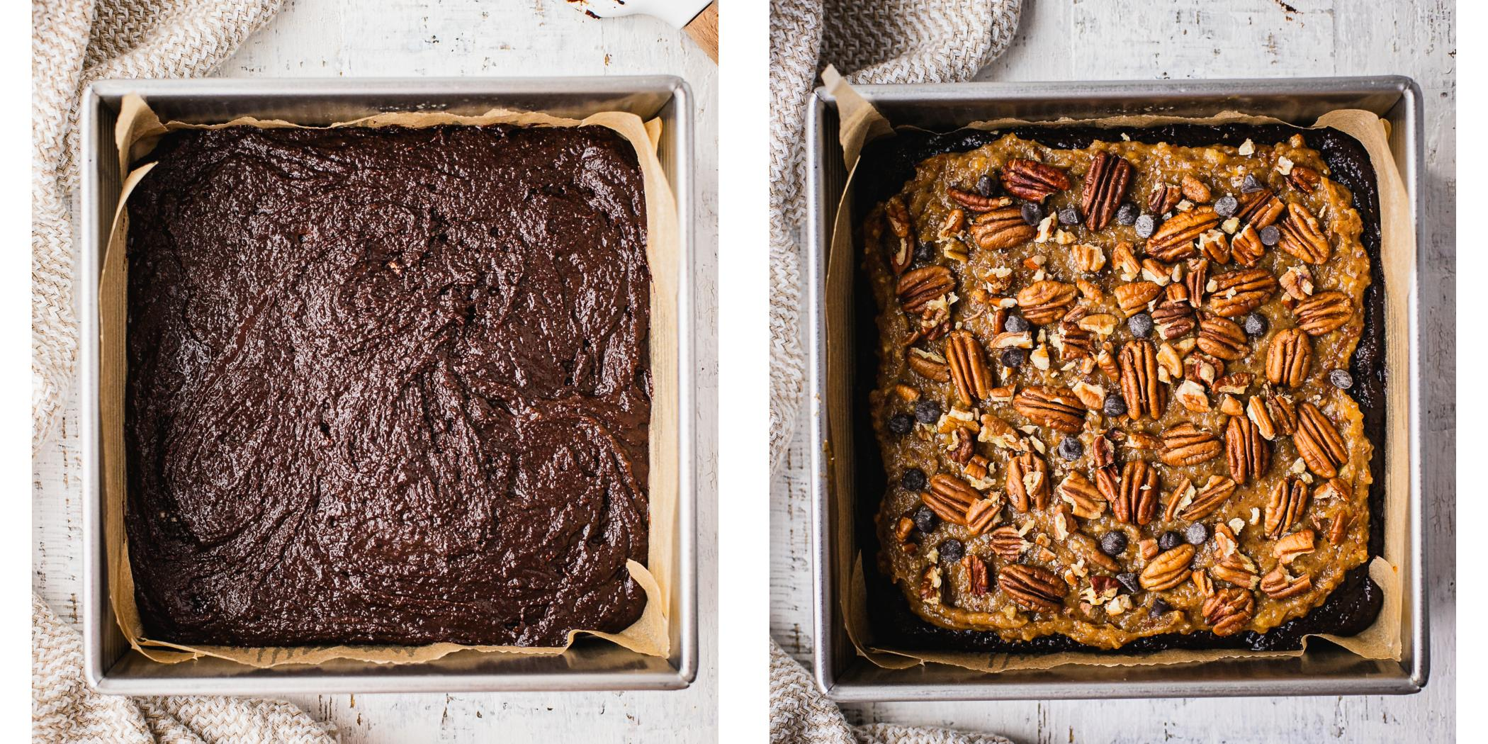Instruction on how to make pecan pie brownie in an 8x8 baking dish.
