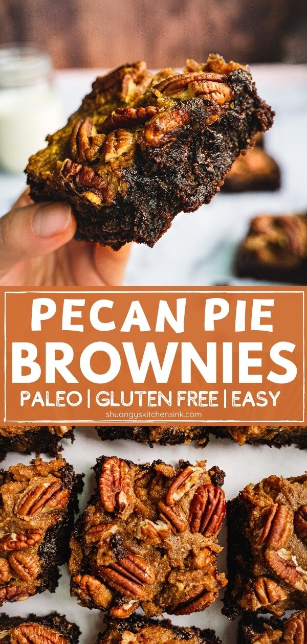 This Pecan Pie Brownie is a Chocolate Twist on the traditional pecan Pie recipe. The gooey paleo brownie paired with sweet pecan pie, this combination makes the best Thanksgiving Dessert. You won't even believe this recipe is paleo, gluten free and refined sugar free. | #paleobrownie #pecanpie #healthypierecipes #healthyholidays #glutenfree #thanksgiving dessert #christmasdessert