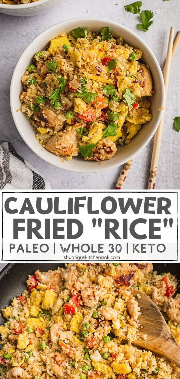Whole30 and Paleo Cauliflower Fried Rice with Chicken| This authentic style Whole30 cauliflower fried rice with chicken is so good you won't even miss the real thing. It's bursting with a savory flavor that the whole family will love. This quick and easy one-pan dinner makes the perfect Low Carb, Whole 30 and a Paleo-Friendly dish. It definitely beats the take-out Chinese Food any day. #whole30recipe #whole30lunchrecipe #cauliflowerrice #whole30ideas