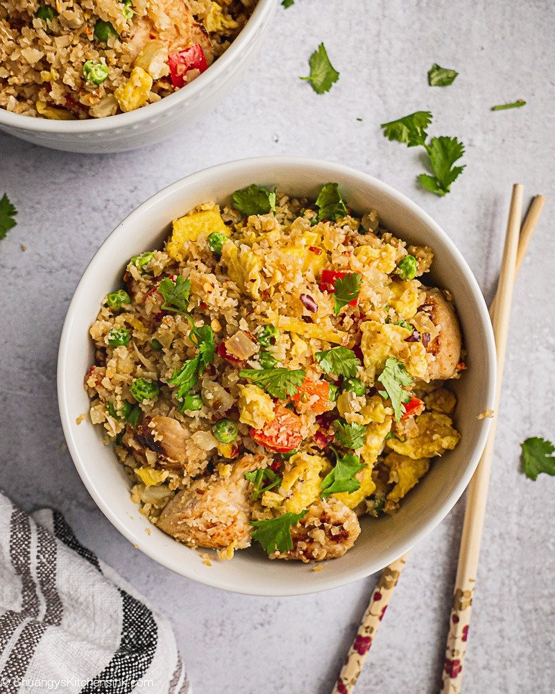 Cauliflower Fried Rice with Chicken {Whole30}