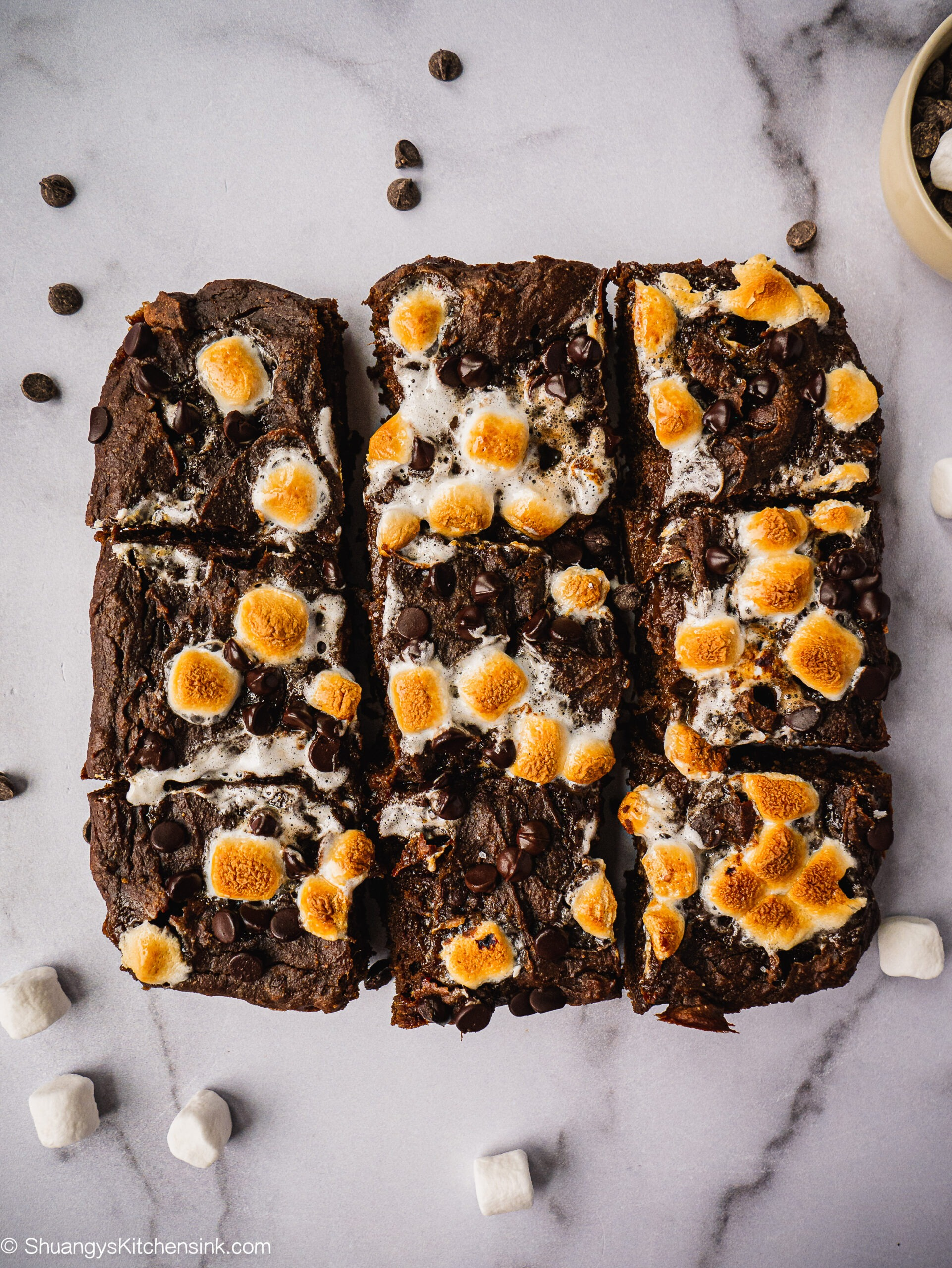 Freshly baked hot chocolate brownie with caramelized marshmallows on top.