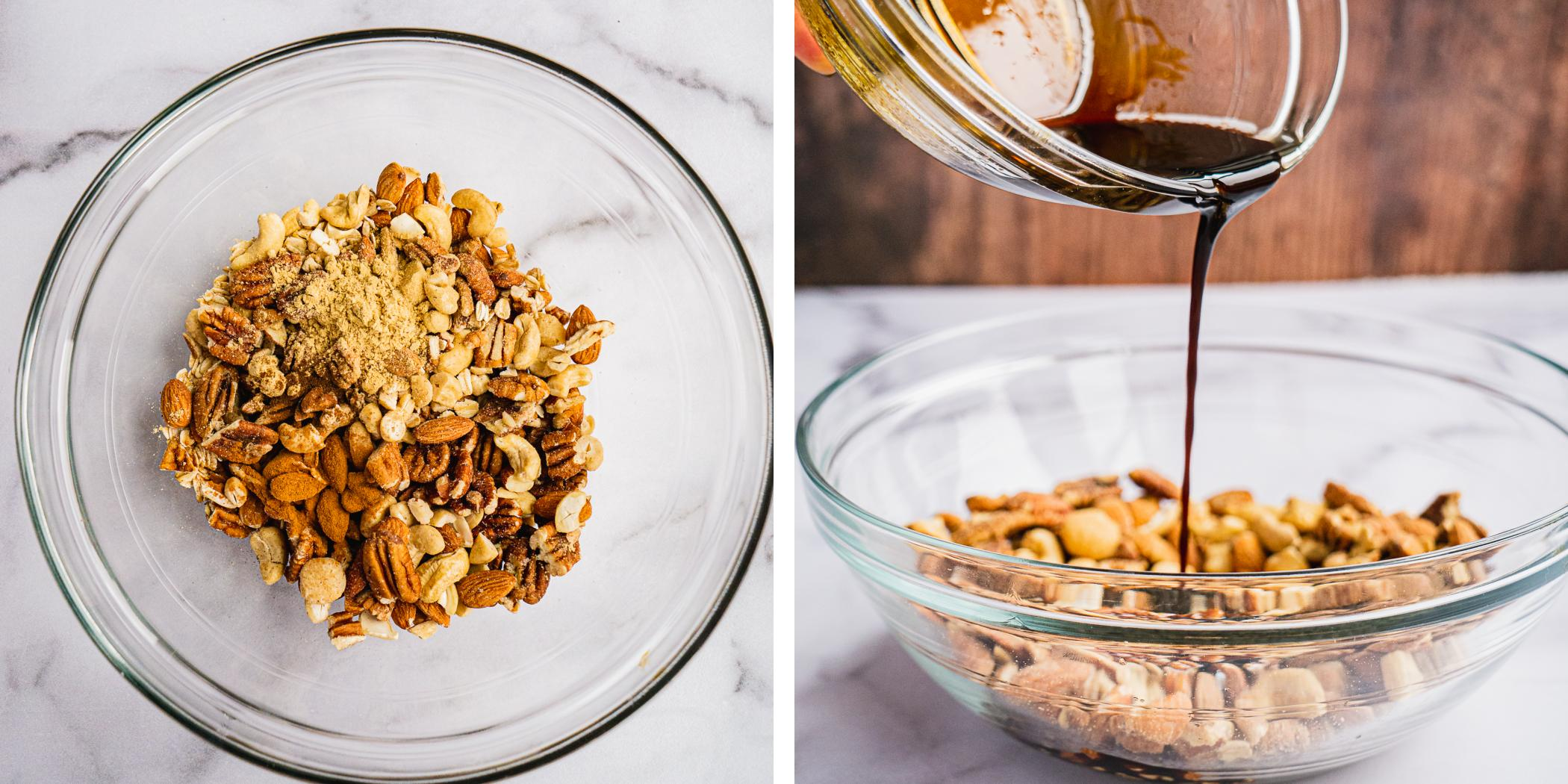 instruction on how to make gingerbread granola. mix the nuts and pour Molassess maple syrup and coconut oil over