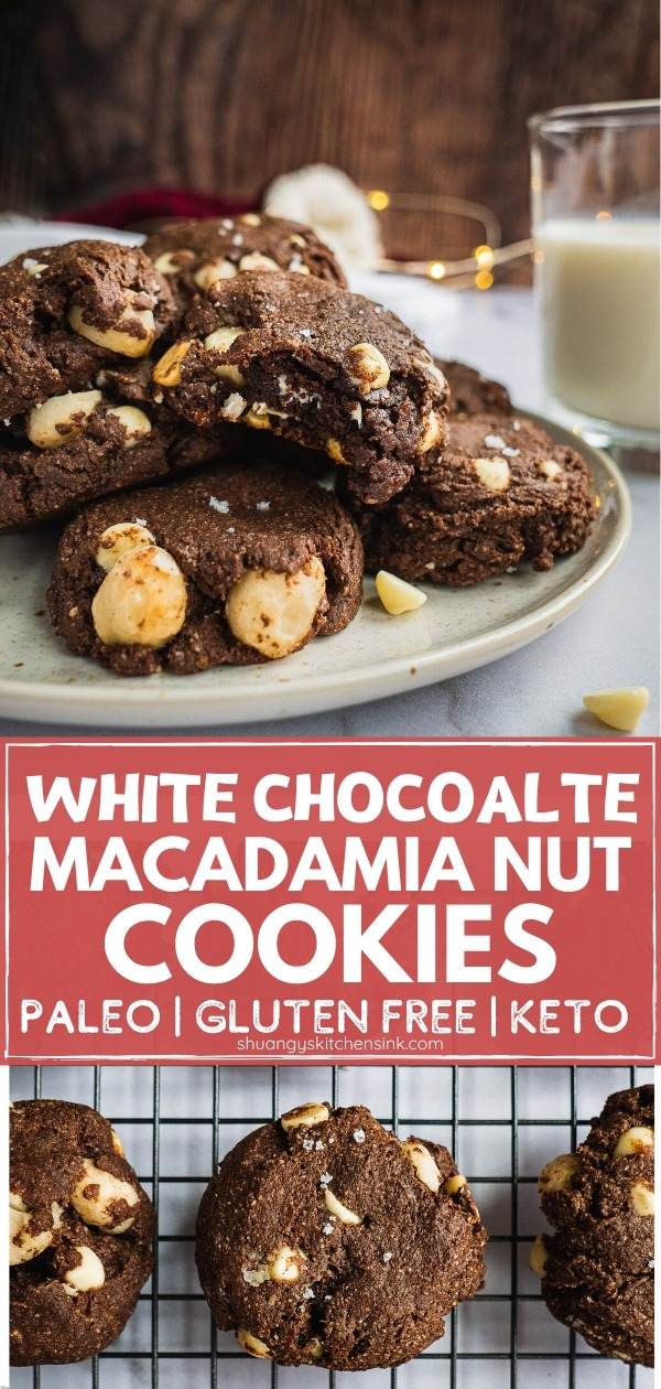 A Plate of White Chocolate Macadamia Nut cookies with a glass of milk in the background. One of them has a bite in it.