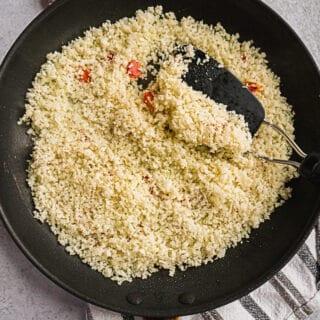 A pan of riced cauliflower