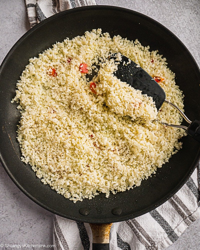 A pan of riced cauliflower