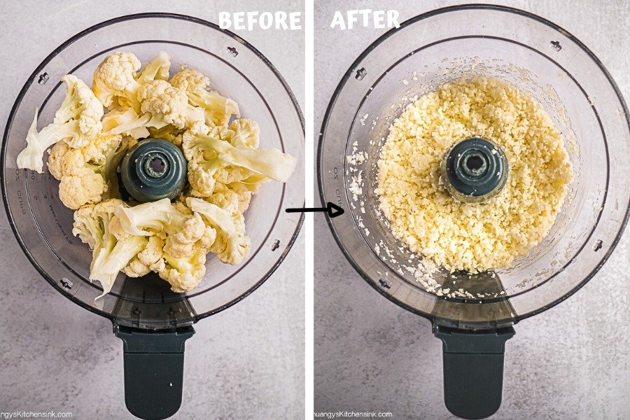 Instruction on how to make cauliflower rice in a blender