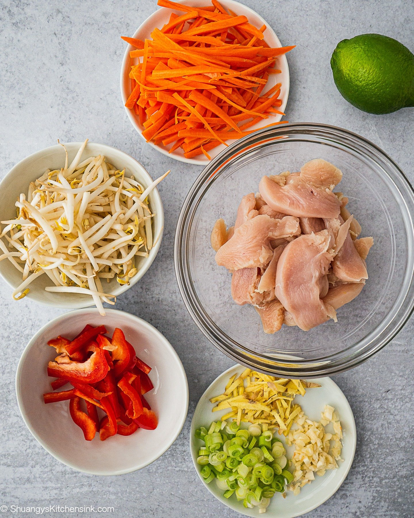 All the ingredients for whole30 pad thai. There are carrots, bean sprouts, chicken, red bell pepper, garlic ginger and green onion.