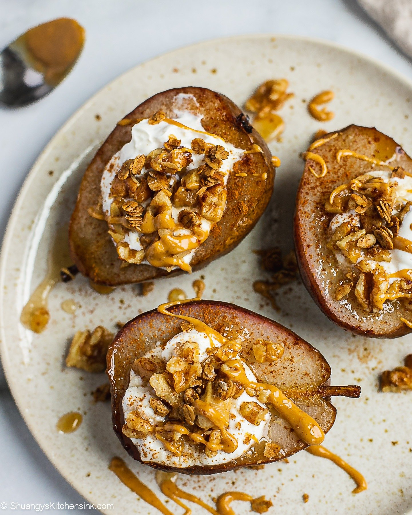 Whole Baked Pears with Honey Walnut