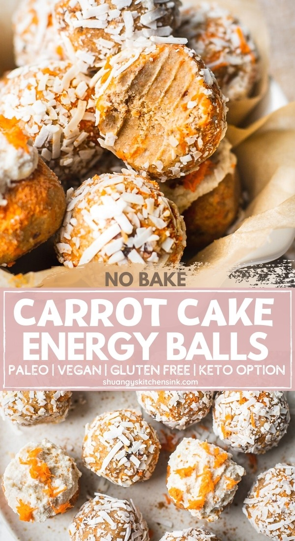 Pinterest picture for no bake carrot cake energy balls that are paleo, vegan, gluten free and keto friendly