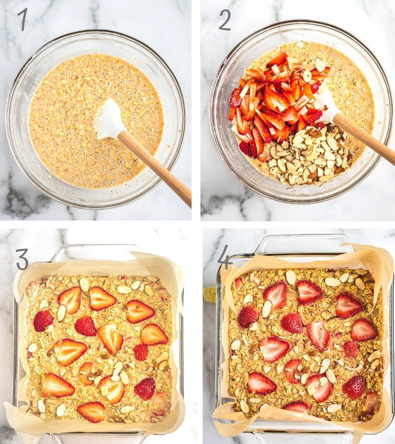 Step by step instructions on how to make strawberry baked oatmeal bars.