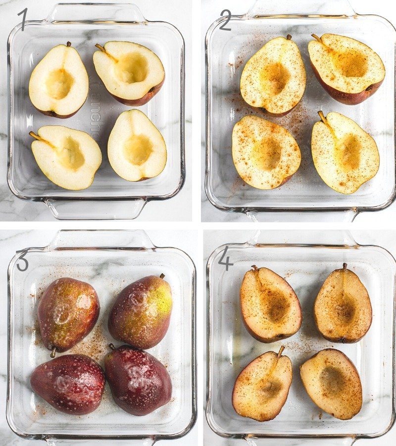 Instruction step by step on how to make oven roasted spiced pears.