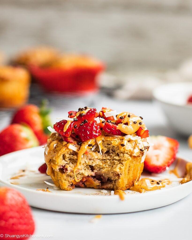 Healthy Strawberry Banana Muffins {Video}