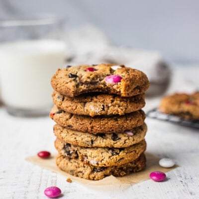 Eggless Chocolate Chip Cookies with M&M