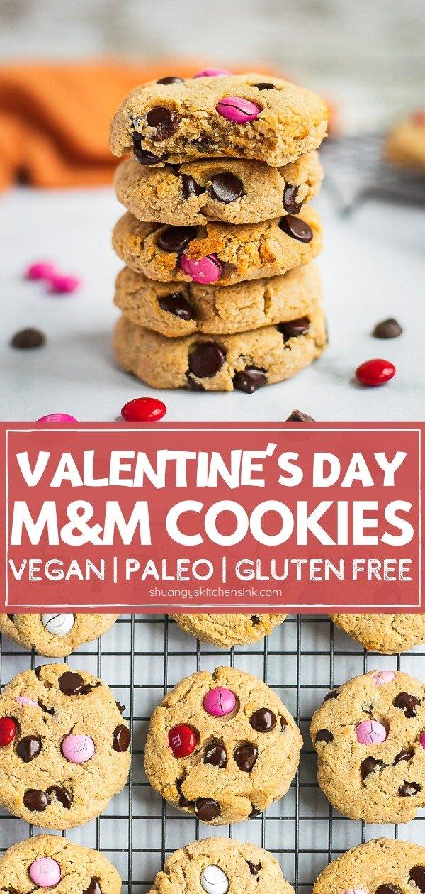 Vegan Chocolate Chip M&M Valentine's Day Cookies | These vegan chocolate chip M&M cookies are light and fluffy, perfectly sweet and super easy to make. The chocolate chips are decadent and gooey while the candy coated M & M's add a subtle crunch. They are low in sugar making them a great Valentine's Day dessert or for any occasion. | #vegancookies #valentinesdaycookies #valentinesdaydessert #healthycookies #chocoaltechipscookies